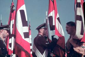 Adolf Hitler at the swearing-in of SS standard bearers at the Reich Party Congress, Nuremberg.