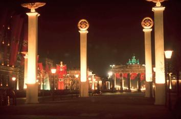 Berlin illuminated at midnight in honor of Hitler's 50th birthday, April 1939.