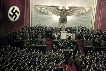 Adolf Hitler makes keynote address at Reichstag session, Kroll Opera House, Berlin, 1939.