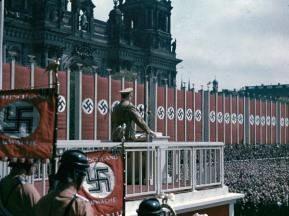 Adolf Hitler speaking at the Lustgarten, Berlin, 1938.